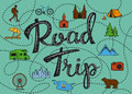 Roadtrip poster with a stylized map with points of interest and sighseeing for travelers