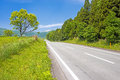 Roadway in the plateau fresh green under blue sky Royalty Free Stock Photos