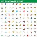 100 roadwork icons set, cartoon style
