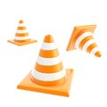 Roadworks orange cone composition isolated on white background Royalty Free Stock Photography
