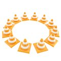 Roadworks orange cone copyspace round frame Stock Image