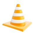 Roadworks orange glossy cone isolated on white background Stock Photos