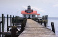 Roanoke marsh lighthouse manteo north carolina wooden plank boardwalk leading tourists to screw pile in Stock Photos