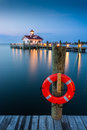 Roanoke marshes lighthouse early morning twilight at the in manteo north carolina Stock Images