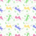 Roar and chomp. Dino pattern. Creative seamless tile with dinosaurs and letter in scandinavian style. Dino print textile.