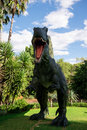 Roaring front standing spinosaurus display model in perth zoo as part of zoorassic exhibition march Royalty Free Stock Images