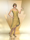 The Roaring 20s Woman Flapper Dancer Dress