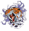 Roaring tiger head ripping out background cartoon clip art illustration of a of a hole in the vector file is in layers for easy Royalty Free Stock Image