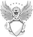 Roaring Winged Lion with Shield Insignia Royalty Free Stock Photo