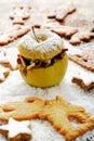 Roast apple with cinnamon stars and spekulatius cookies