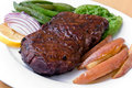 Roast Beef with green Beans and red potatoes Stock Photos