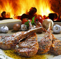 Roast beef grilled with vegetables Stock Photo