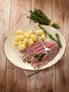 Roast beef with potatoes Royalty Free Stock Images