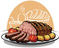 Roast beef with potatoes Stock Images