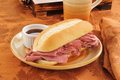 Roast beef sandwich au jus Stock Photos