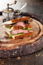 Roast beef sandwich with lettuce Stock Image