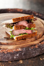 Roast beef sandwich with lettuce Royalty Free Stock Image