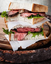 Roast beef sandwich with lettuce Stock Photography