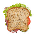 Roast beef sandwich top view Stock Images