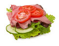 Roast beef sandwich w/tomatoes Royalty Free Stock Image
