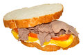 Roast beef sandwich on white sliced bread with tomato mayonnaise and mustard isolated on a white background Stock Photo