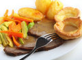 Roast beef and Yorkshire puddings Stock Photography