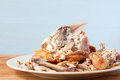 Roast chicken carcass the remians of a on a white plate Royalty Free Stock Photo