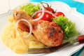 Roast chicken leg and mashed potato Royalty Free Stock Images