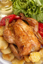 Roast chicken with potato vegetables and salad Royalty Free Stock Photos