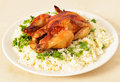 Roast chicken and rice side view Royalty Free Stock Image