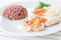 Roast chicken with sweet pepper and berry rice Royalty Free Stock Photo