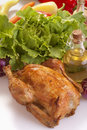Roast chicken with vegetables and salad Stock Photo