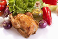 Roast chicken with vegetables and salad Royalty Free Stock Image