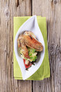 Roast chicken wing with potatoes Royalty Free Stock Images
