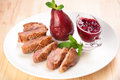 Roast duck breast with raspberry sauce Royalty Free Stock Photo