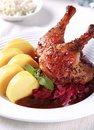 Roast Duck Legs with Braised Cabbage and Potato Dumplings Royalty Free Stock Photo