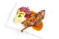 Roast duck with potato dumpling Royalty Free Stock Images