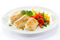Roast fish fillet dish and vegetables Stock Images
