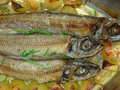 Roast   fishes detail Stock Photography
