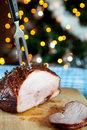 Roast ham for christmas dinner Royalty Free Stock Images