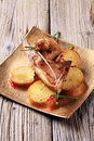 Roast lamb chops and potatoes Royalty Free Stock Photo
