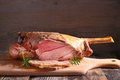 Roast lamb leg Royalty Free Stock Photo