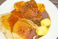 Roast lamb and Yorkshire pudding. Stock Photos