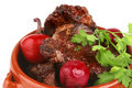 Roast meat in pot with vegetables Royalty Free Stock Photo