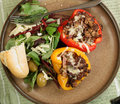 Roast peppers and salad Royalty Free Stock Photo