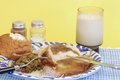 Roast pork dinner soul food and mashed potatoes with brown gravy and green beans supper with glass of milk Royalty Free Stock Photos
