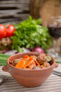 Roast in a pot with beef and vegetables Royalty Free Stock Photo