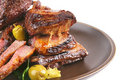 Roast ribs on dish Stock Photo