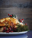 Roast turkey against dark rustic wood background. Vertical with copyspace