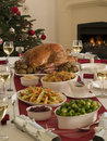 Roast Turkey Christmas Dinner Royalty Free Stock Images